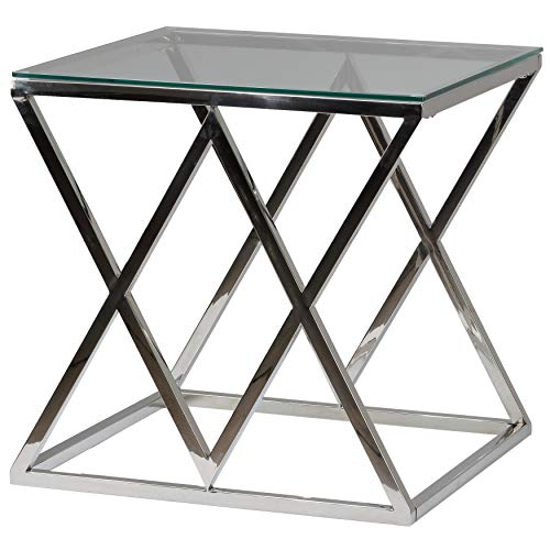 Cortesi Home Gwen Contemporary Glass End Table, 21.75 , Silver