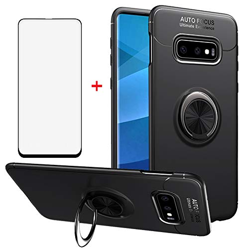 Phone Case for Samsung Galaxy S10e with Tempered Glass Screen Protector Magnetic 360°Ring Holder Stand Kickstand Hybrid Protective Cover Cell Accessories Slim Rugged Rubber Glaxay S 10e S10 10 e Black from Asuwish