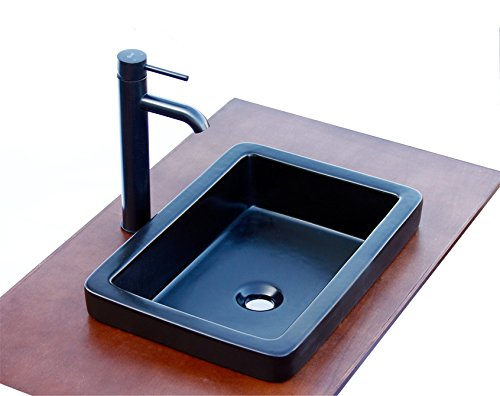 Elimax's SR-7444MBE3 combo Bathroom Semi-Recessed Ceramic Porcelain Vessel Sink With Oil Rubbed Bronze Faucet and Pop Up Drain by ELIMAX'S