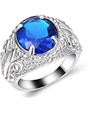 men ring silver With a blue sapphire gemstone size US 9