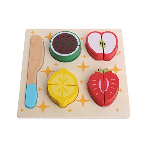EA-STONE Cutting Food - Wooden Play Food For Toddler Birthda