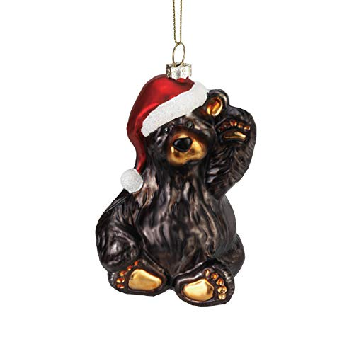 DEMDACO Friendly Santa Bear Midnight Black 4 x 3 Glass Christmas Figurine Ornament