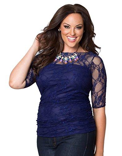 Kiyonna Women's Plus Size Smitten Lace Top 5X Royal Sapphire