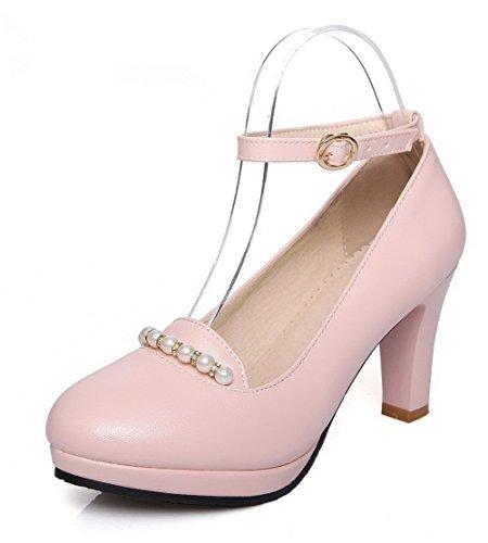 AgooLar Damen Schnalle Hoher Absatz PU Rein Pumps Schuhe, Pink, 43