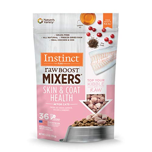 Instinct Freeze Dried Raw Boost Mixers Grain Free Skin & Coat Health Recipe All Natural Cat Food Topper by Nature's Variety, 5.5 oz. Bag (Best Cat Food For Healthy Coat)