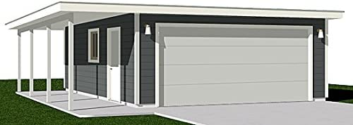 Garage Plans Two Car Flat Roof Garage With Side Porch Amazon Com