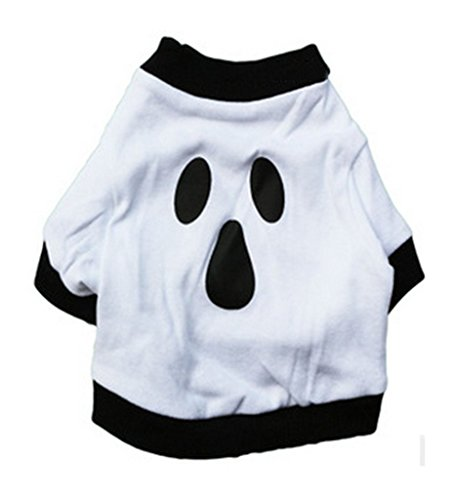 Ollypet Halloween Dog Shirt Costume Ghost Tee Clothes For Party Outfit Puppy Cat Small Dog Outfit Cotton Scary L