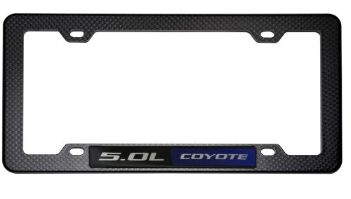 BLACK CARBON FIBER Look LICENSE Plate Tag FRAME with BLUE BLACK 5.0L Coyote Ford Mustang GT Coyote Engine Emblem Badge Nameplate V8 09 10 11 12 2009 2010 2011 2012 (Crate Mustang Ford Engines)