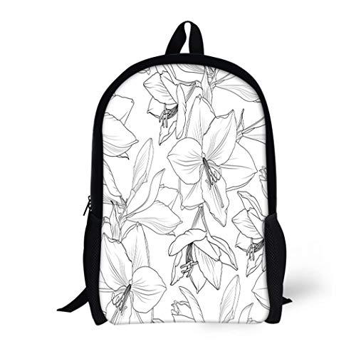 Pinbeam Backpack Travel Daypack Amaryllis Hippeastrum Lilly Floral Spring Summer Flowers Detailed Waterproof School Bag