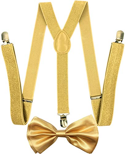 CD Gold Suspender with Matching Metalic, Champagne, Sequined Bowtie Set (Champagne Gold) -