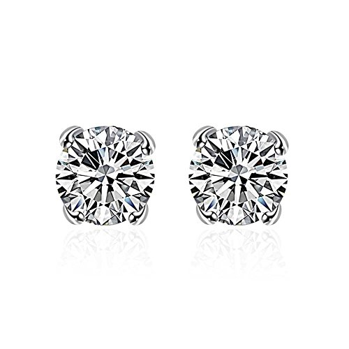 Women's 8MM 925 Sterling Silver Plated CZ Cubic Zirconia Studs Earrings (Jewelry 1 Cent compare prices)