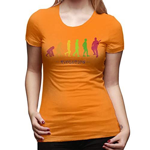Burton Edith Guitar Player Evolution Guitarist Musician Women's Short Sleeve T Shirt Color Orange Size 31 ()