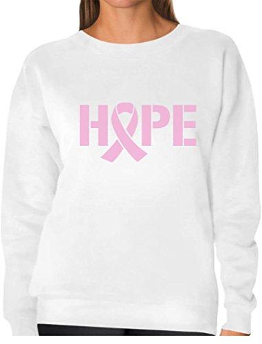 (TeeStars - Hope Breast Cancer Awareness Pink Ribbon Women Sweatshirt X-Large White)