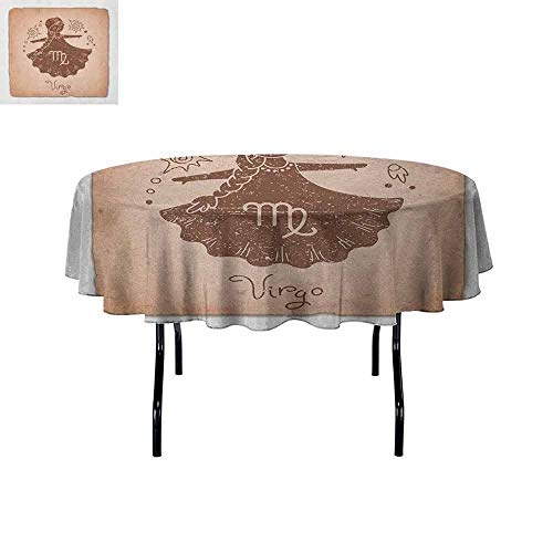 Curioly Virgo Printed Tablecloth Vintage Style Display with Little Girl in Dress Floral Sky Elements Astrology Image Desktop Protection pad D55 Inch Brown White