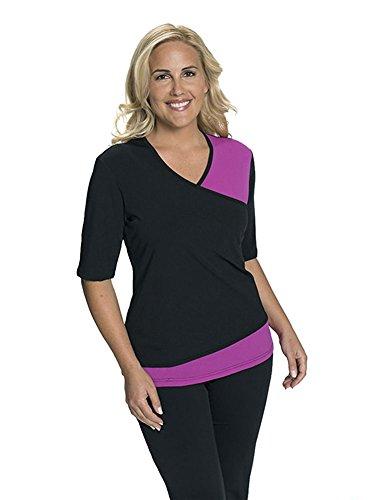HydroChic Women's Modest Short Sleeve Swim Shirt - Sun Protection Rash Guard UPF 50 - Black/Violet, X-Large (Chlorine Proof Swim Top)