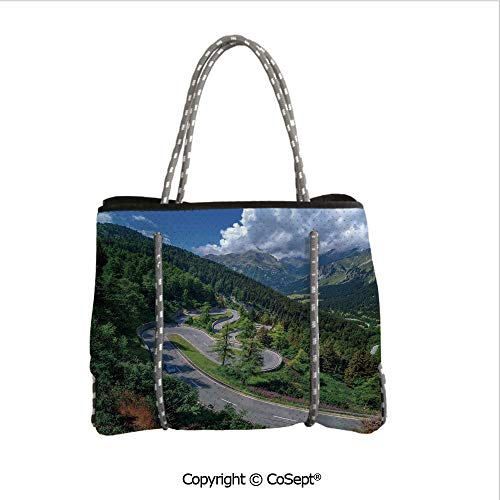 Durable Tote Bag,Natural View of Maloja Pass Alps Switzerland Europe Mountains Forest Highway,For The Boat,Beach or Pool (14.9