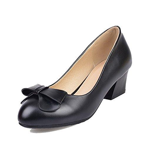 AllhqFashion Damen Rein Blend-Materialien Mittler Absatz Schnalle Rund Zehe Pumps Schuhe Schwarz
