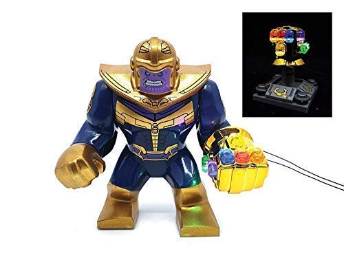 BlingBlingBrick Marvel Avengers Super Heroes - Thanos Minifigure with Handmade LED Infinity Gauntlet