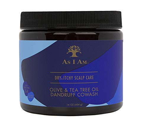 As I Am Dry & Itchy Scalp Care Cowash - 16 ounce - Enriched with Zinc Pyrithione, Olive Oil, and Tea Tree Oil - Fights Dandruff and Seborrheic Dermatitis