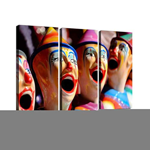 Carnival Clown Print On Canvas Wall Artwork Modern Photography Home Decor Unique Pattern Stretched and Framed 3 Piece -