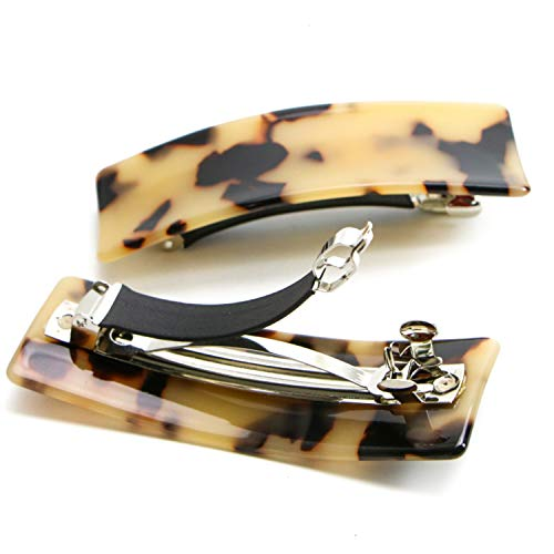 (Monrocco 2Pcs Mini Rectangle Barrette Hair Clip, French Automatic Hair Clip -Handmade Celluloid Onyx Hair Clip Barrette Ponytail Holders for Women)
