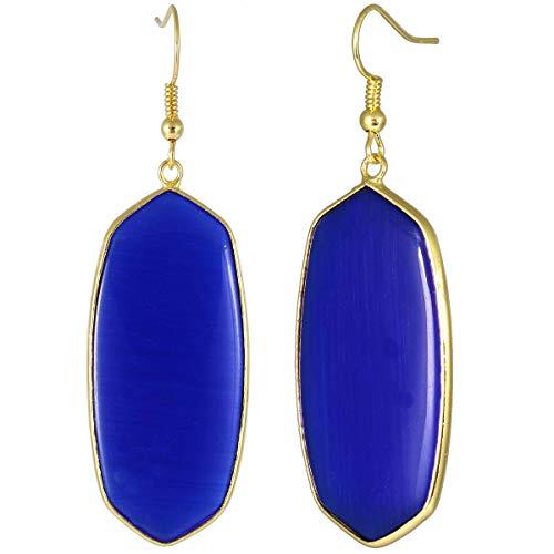TUMBEELLUWA Crystal Quartz Stone Dangle Hook Earrings Oval Gold Plated, Cat's Eye Stone Cat Eye Oval Earrings