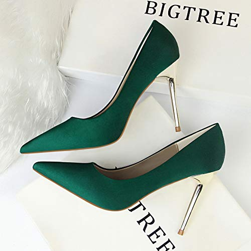 Yukun zapatos de tacón alto Autumn Green Silk Satin Shallow Stiletto Pointed High Heels Black Professional Elegant Women's Shoes Green