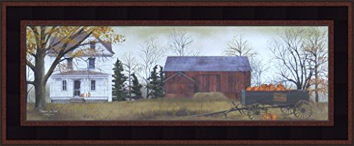 Pumpkins For Sale by Billy Jacobs Farm Barn Wagon Folk Art Country Print 9x21 Wall Décor Framed Picture ()