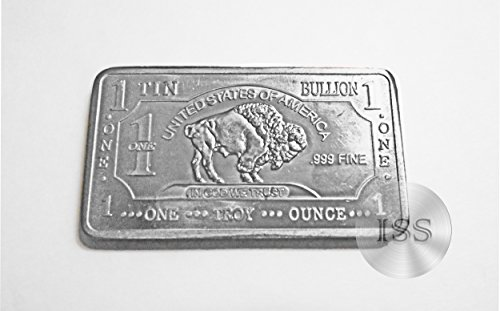 Fine .999 (Tin) Buffalo Bison Bars, Each Weighs 1 Troy Ounce, 1toz Ingot, Superb Addition to Metal Collection, Part of a Unique Collectable Series, Iconic Design, Pure Fractional Industrial (Tin)