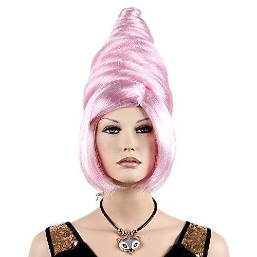 STfantasy Beehive Wigs for Women Costume Cosplay Party Long Large Medium Straight Pink Hair -