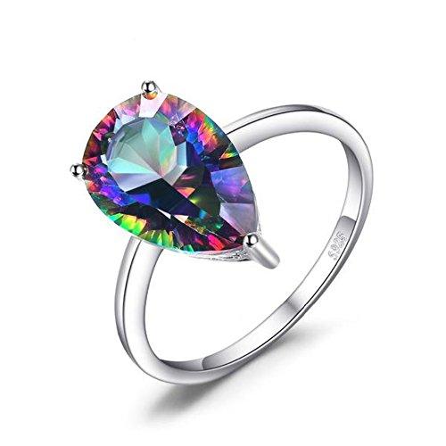 VERA NOVA JEWELRY Splendorous Concave Cut 3ct Genuine Rainbow Fire Mystic Topaz 925 Sterling Silver Ring