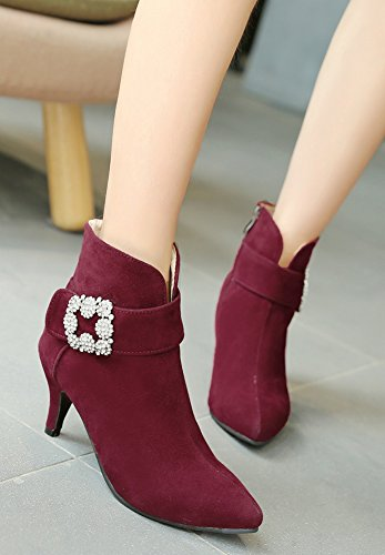Aisun Strass Sexy Pointu Bottines Style Vineux Femme Bout Rouge rFxXnrB