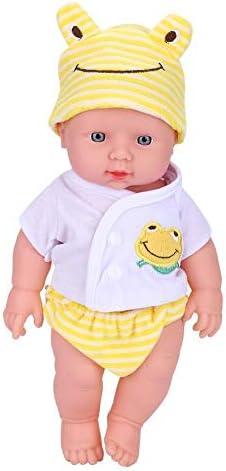 Aelooa バースのおもちゃを眠れる森の高いシミュレーションビニールベビードールと服新生児(イエロー)