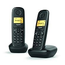"""Gigaset A270 Duo - 2 Teléfonos inalámbricos manos libres, gran pantalla iluminada, agenda 80 Contactos, color negro, 5"""""""