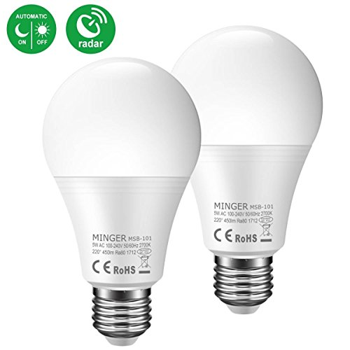 Motion Sensor Light Bulb 5W, 50W Equivalent Smart Bulb Radar LED Motion Sensor Light Bulbs E26 Base Indoor Sensor Night Lights Soft White 2700K Outdoor Motion Sensor Bulb Auto On/Off …
