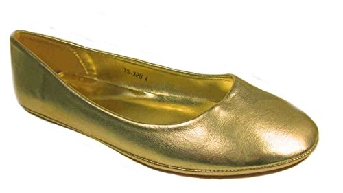 LADIES FASHION FLAT BALLERINA DOLLY PUMPS SHOES VARIOUS COLOURS Gold 3PHF84cU