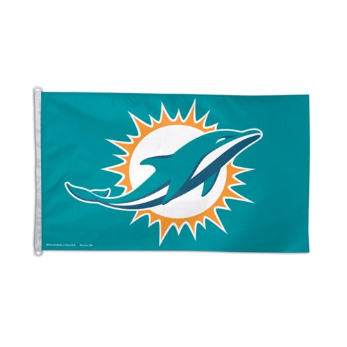 Dolphins Flag Miami (WinCraft Miami Dolphins Official NFL 3ft x 5ft Banner Flag by 412140)