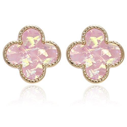 Iridescent glitter Opal Circle, Star, Four Leaf Clover, Heart Shape with Titanium Post Stud ()