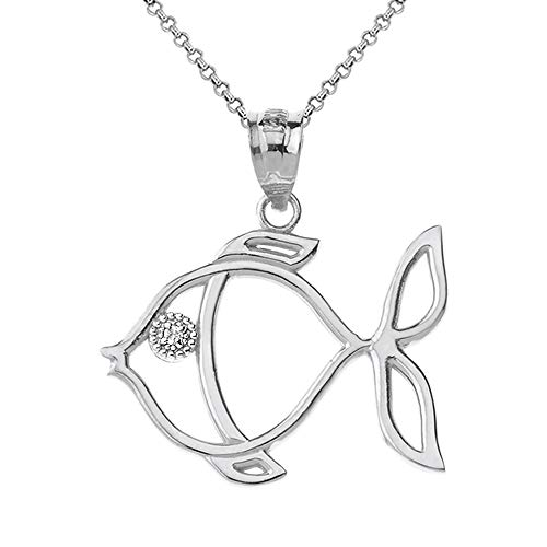 14k White Gold Diamond Tropical Angelfish Outline Pendant Necklace, 20