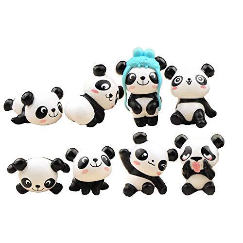 8 pieces of kawaii panda funny animals, oncake decorations -