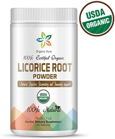 Certified Organic Licorice Root Powder 16Oz -1Lb. Natural Respiratory, Digestive and Immune Support. Enhances overall health. 100% Natural and Raw Superfood Supplement. No GMO. Gluten Free.