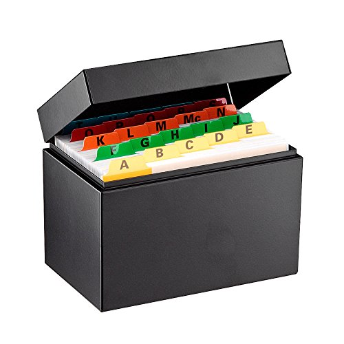 STEELMASTER Steel Card File Box Without Block, Holds 500 4 x 6 Inch Cards, Black (263644BLA)