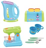 play appliances - Gourmet Kitchen Appliances Toy Pretend Play Set for Kids with Mixer, Toaster, Kettle and Accessories