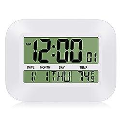 HeQiao Digital Wall Clock, 12 Inch Simple Silent Desk Clock Sleek Battery Operated Large LCD DUAL ALARMS Clock W/Calendar, Temp (Ivory White)