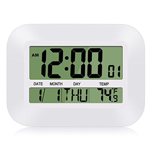 Digital Wall Clock, HeQiao Simple Silent Desk Clock Decorative Large LCD Battery Operated Alarm Clock with Calendar Temperature for Office Home (12 Inch, 2 Alarms) (Ivory White)