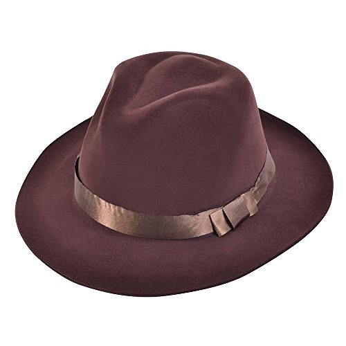 Bristol Novelty BH529 Fedora Brown Velvet Hat, One Size (Hat Velvet Pimp)