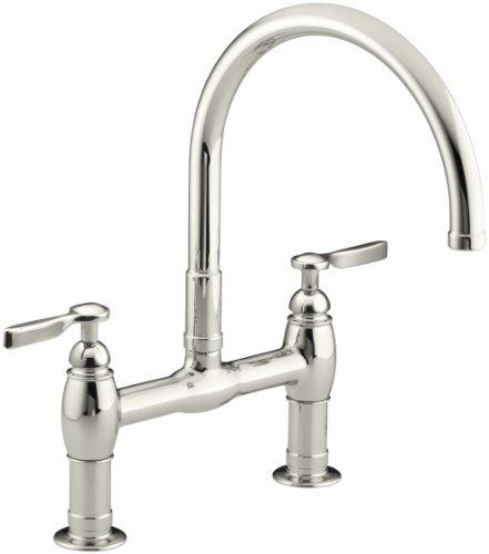 KOHLER K-6130-4-SN Parq Deck-Mount Kitchen Bridge Faucet, Vibrant Polished Nickel