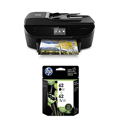 HP Envy 7640 Wireless All-in-One Photo Printer with Mobile Printing, Instant Ink ready (E4W43A) and HP 62 Black & Tri-color Original Ink Cartridges, Pack of 2 (N9H64FN) Bundle