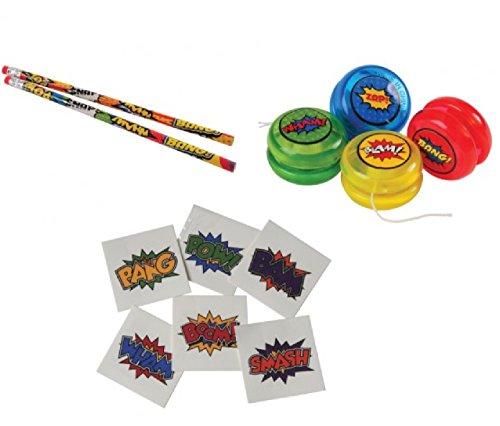 Awesome 168-Piece SuperHero Theme Party Favor Set / 12 Pencils / 12 Mini-YoYos / 144 SuperHero Tattoos -