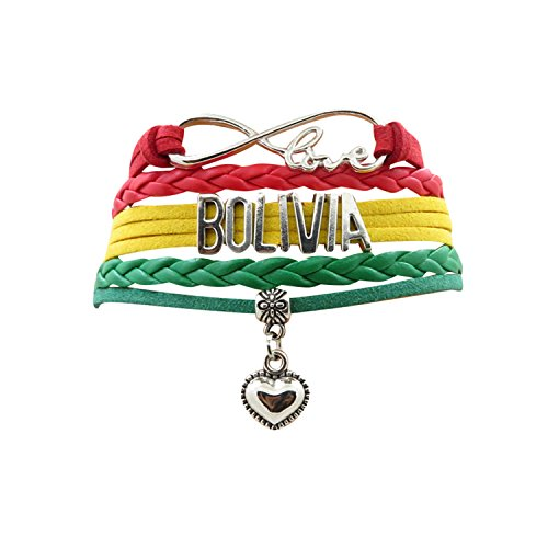 AccessCube Customized Unisex Infinity Leather Metal Country Flag Bracelet Wristband Cuff (Bolivia) ()
